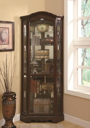 Coaster Curio Cabinets Collection 950175 32 5 Corner Cabinet With Gl Shelves Mirror Back Metal