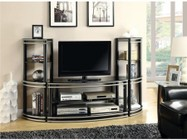 Coaster 700722SET 3 PC Entertainment Set with TV Console + 2 Media Towers in Black and Silver Color