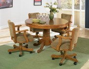 Coaster Mitchell 100951TC 5 PC Game Room Set with Game Table + 4 Arm Game Chairs in Amber Color