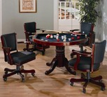 Coaster Mitchell 100201TC 5 PC Game Room Set with Game Table + 4 Arm Game Chairs in Merlot Color