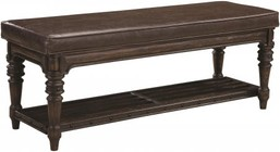 """Coaster Carlsbad 204046 50"""" Bench with Padded Seat  Distressed Detailing  Bottom Shelf  Turned Legs  Solid Wood and Pine Wood Veneer in Vintage Espresso Finish"""