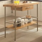 "Coaster 102166 43"" Kitchen Island with Solid Bamboo Top  Drawer  Bottom Shelf and Metal Legs"