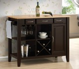 Coaster 910028 Kitchen Cart with Three Drawers  Stemware Rack  Open Storage and Wine Bottle Holder in Natural & Cappuccino Finish