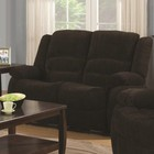 Coaster 601462 Gordon Reclining Loveseat with Chenille Upholstery  Plush Pillow Arms and Two Scoop Seats in Dark Brown