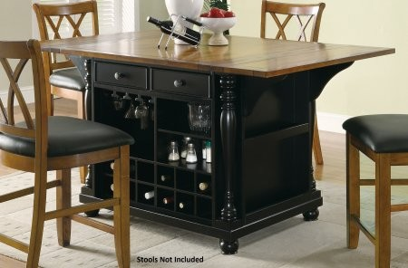 "Coaster Slater Collection 102270 42"" Extendable Kitchen Island with Drop Leaves  Drawers  Doors  Built-In Wine Bottle Storage  Stemware Rack and Spice Rack in Cherry and Black Two-Tone Color"