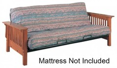 Coaster 4844 Futons Casual Futon Frame with Mission Slat Side Detail  Wide Wooden Arms  Smooth Frame  Square Legs  Metal Deck and Hinges in Oak Finish