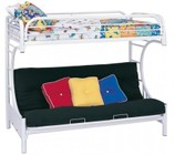 Coaster 2253W Fordham C Style Metal Futon Bunk Bed with Welded Braces and Straight Round Legs in High Gloss White Finish