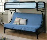 Coaster 2253K Fordham C Style Metal Futon Bunk Bed with Welded Braces and Straight Round Legs in High Gloss Black Finish