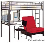 Coaster 2209 Max Twin Size Bunk Bed with Over Futon Metal  Desk  Built-In Ladder and High Gloss Metal Frame in Black