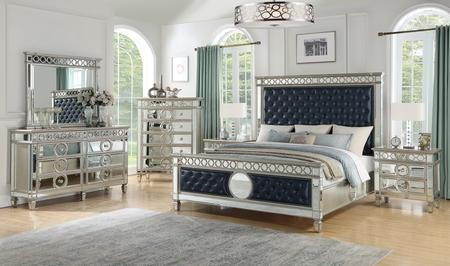 Cosmos Furniture Brooklyn Collection BROOKLYN KING BED SET 6-Piece Bedroom  Set with King Size Bed Dresser Mirror Chest and 2 Nightstands in Silver and  ...