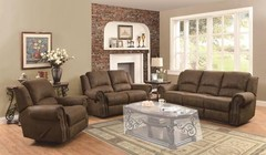 Coaster 650151 Sir Rawlinson Reclining Sofa + Loveseat + Recliner with Rolled Panel Arm  Pad-Over-Chaise with Topstitch Detailing and Split Bustle Back Cushions in Brown