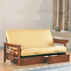 Coaster 4075+6 Casual Futon Frame with Storage Drawers in Dark Oak by Coaster Co