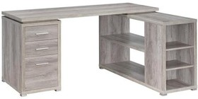 "Coaster Yvette Collection 801516 60"" Office Desk with 3 Drawers  Open Shelves  Silver Metal Hardware and Wood Frame in Grey Driftwood Finish"