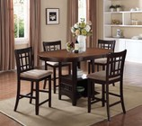 Coaster Lavon Collection 105278-S5 5-Piece Dining Room Set with Counter Height Table and 4 Counter Height Stools in Light Chestnut and Espresso