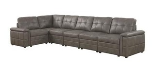 Coaster Ellington Collection 55129-4LAF-2-1-4RAF 6-Piece Sectional Sofa with Left Arm Facing Chair  Corner Chair  3x Armless Chairs and Right Arm Facing Chair in Stone Grey