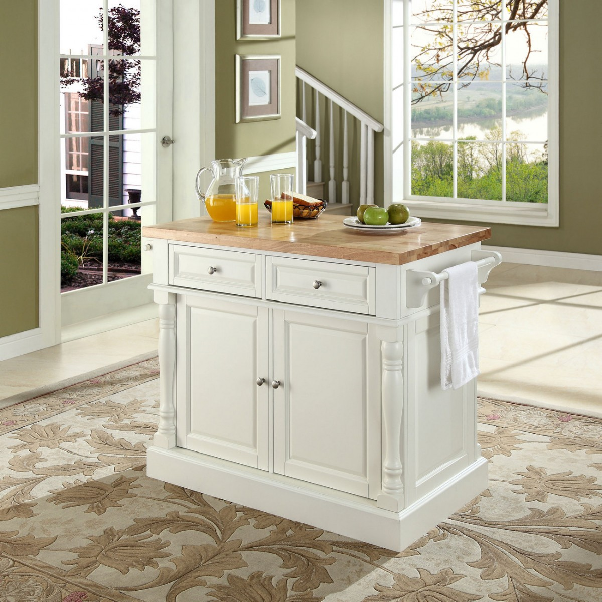 crosley butcher block top kitchen island crosley brands oxford butcher block top kitchen island in white finish crosley kf30006wh 9246