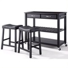 Crosley Furniture Granite Top Kitchen Cart/Island with Stools in Black