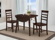4D Concepts 530990 Harrison Three Piece Dining Table Set with Drop-leaf Sides in Oak Finish