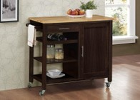 4D Concepts 53653 Calgary Cart with Wood top Wenge and Natural  Color