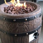 "Deeco DM-GFP-007A-LR 26"" Wine Barrel Gas Fire Pit with Magnesium Oxide Material  Stainless Steel Burner  Gas Valve and Door in Brown Color"