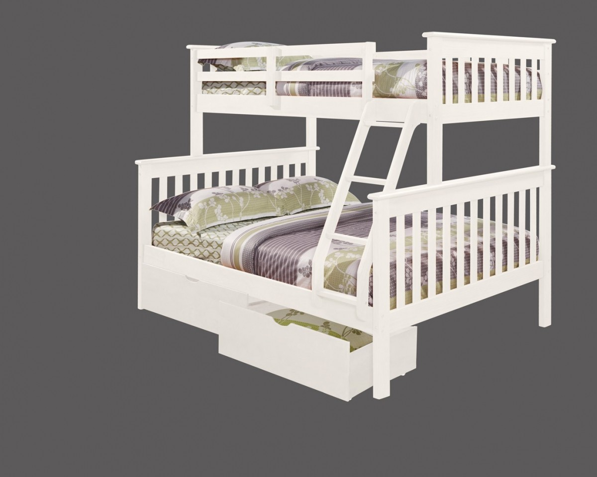 Donco Trading Company Mission White Twin Full Bunk Bed