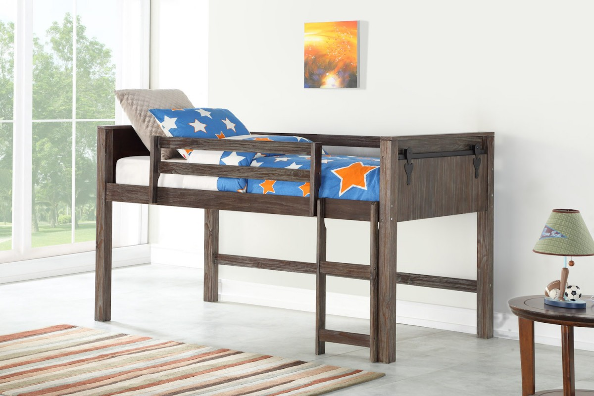 Brushed Shadow DONCO Twin over Full Barn Panel Bunk Bed BUNKBED