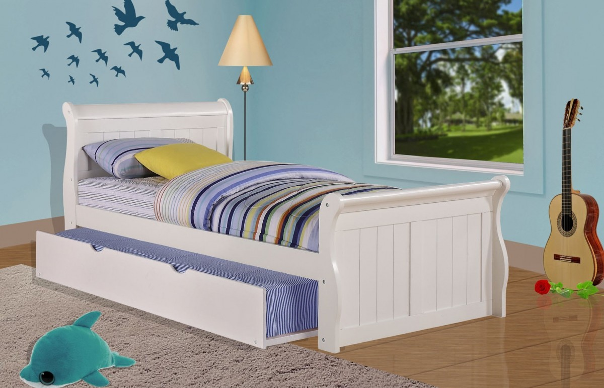 Donco Kids Twin Sleigh Bed In White With Twin Trundle Donco 325 Tw 503 W Discount Bandit