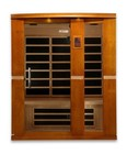 """Dynamic Palmero Edition DYN-6330-01 75"""" Far Infrared Sauna with 3 Person Capacity  8 Carbon Heating Elements  Music System with Bluetooth and 2 Dynamic Speakers  Tempered Glass Door and Chromotherapy Lighting"""