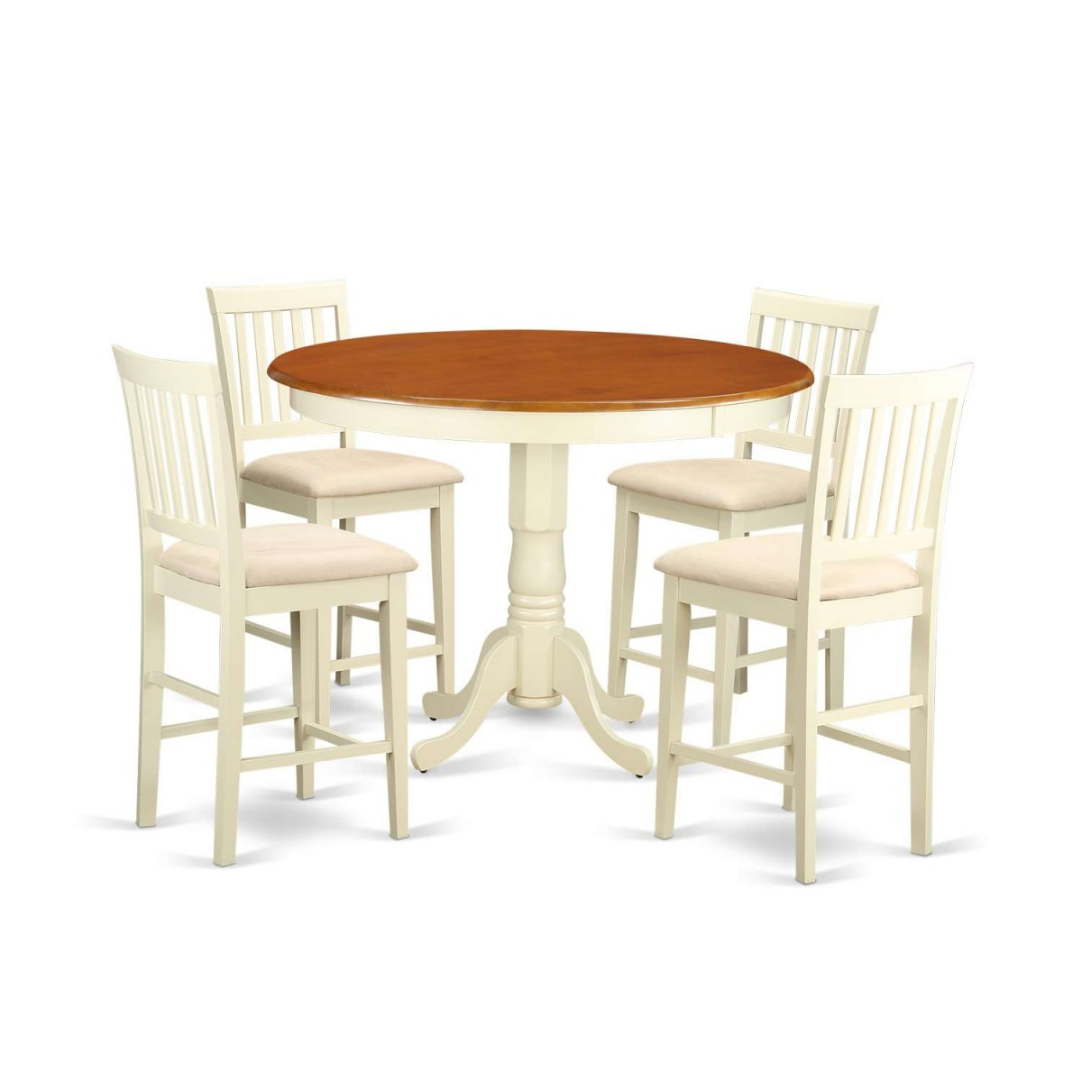 Set Of 4 Kitchen Counter Height Chairs With Microfiber: East West Furniture Trenton 5 Piece Counter Height Pub Set