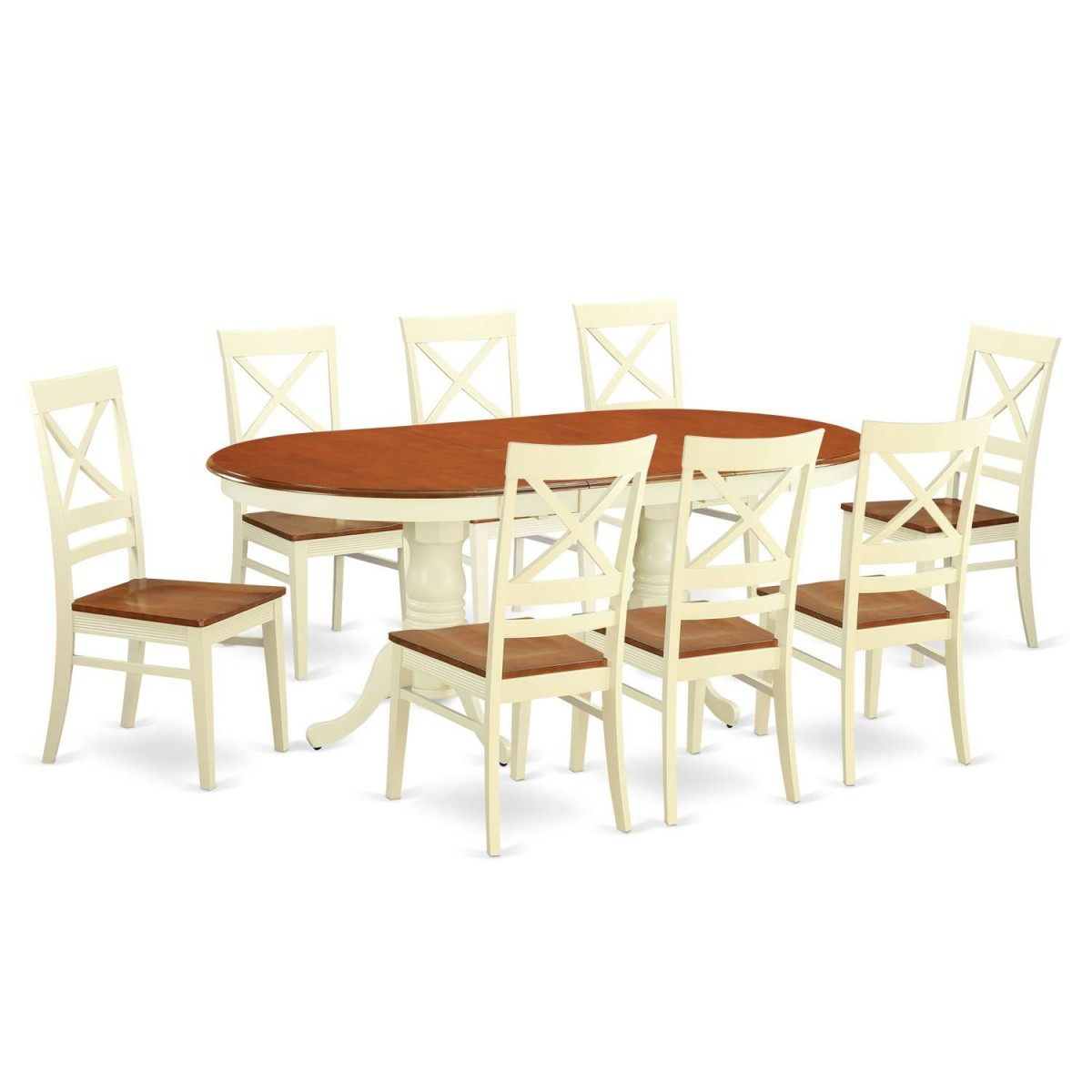 9 Piece Solid Wood Dining Set With Table And 8 Chairs: East West Furniture Plainville 9 Piece Dining Table Set