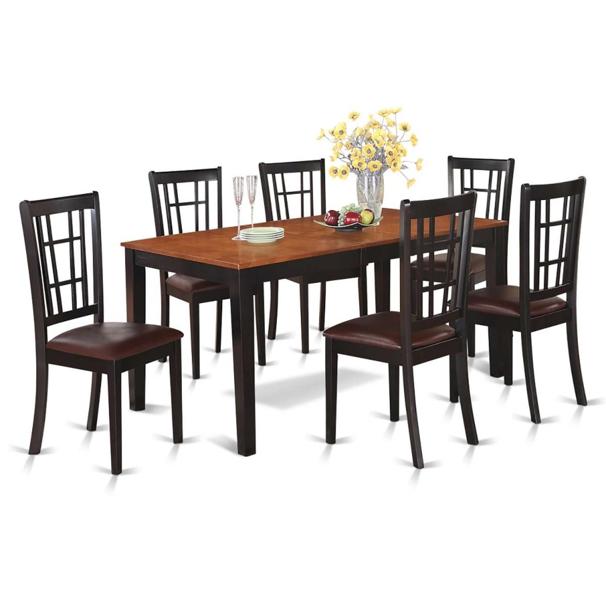 East West Nicoli 6 Piece Dining Set: East West Furniture Nicoli 7 Piece Dining Room Set