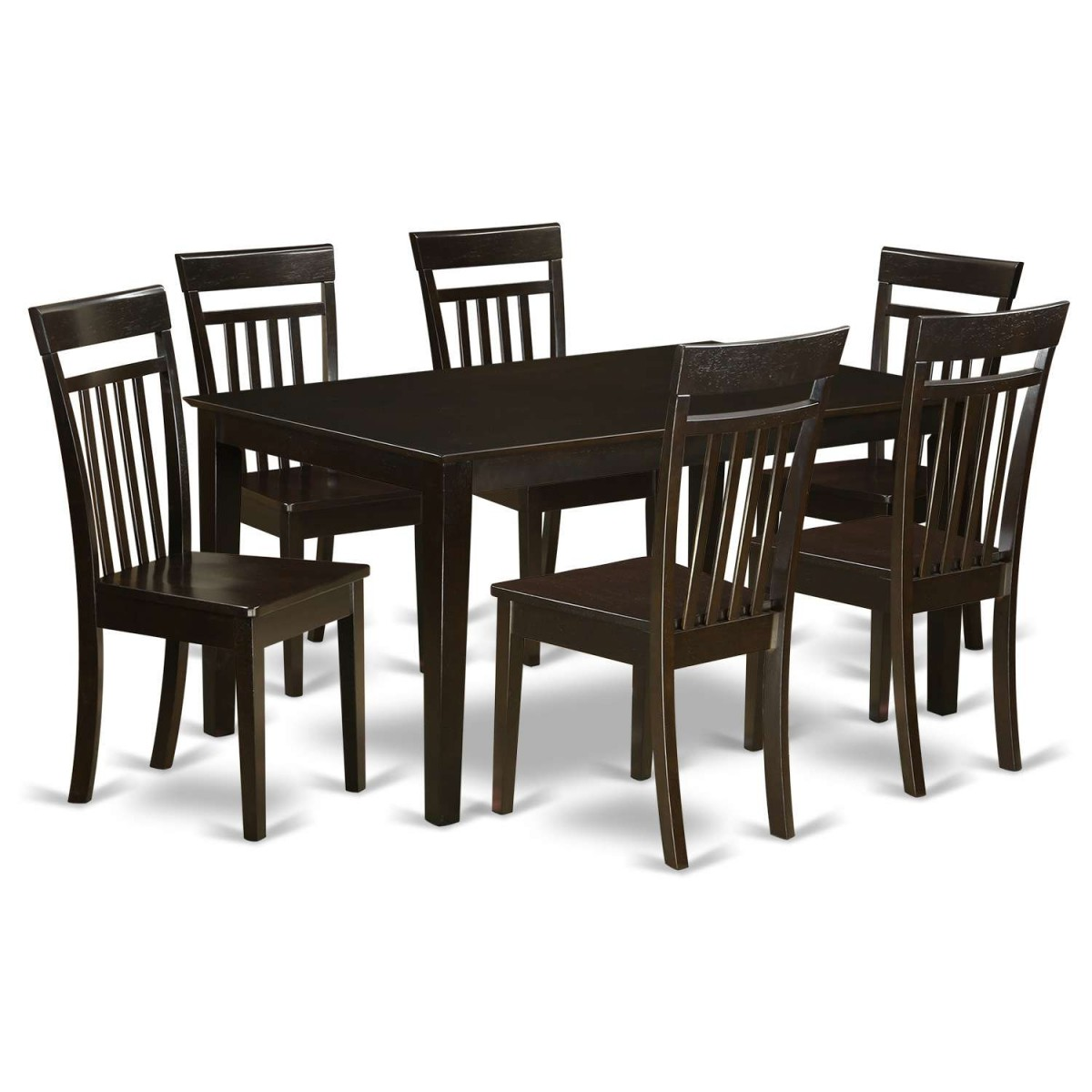 East West Furniture Capri 7 Piece Dining Table Set