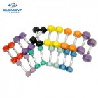 Element Fitness E-200-AHEX-SET Aerobic Hex Dumbbell Set with Pairs Ranging 2lbs to 12 lbs.  Chrome Knurled Handles and Rubber Encased  in Multiple Colors