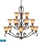 ELK Lighting 9330/6+6+3-LED 15 Light Chandelier in Mocha and Antique Amber Glass - LED
