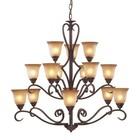 ELK Lighting 9330/6+6+3 15 Light Chandelier in Mocha and Antique Amber Glass