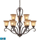 ELK Lighting 9329/6+3-LED 9 Light Chandelier in Mocha and Antique Amber Glass - LED