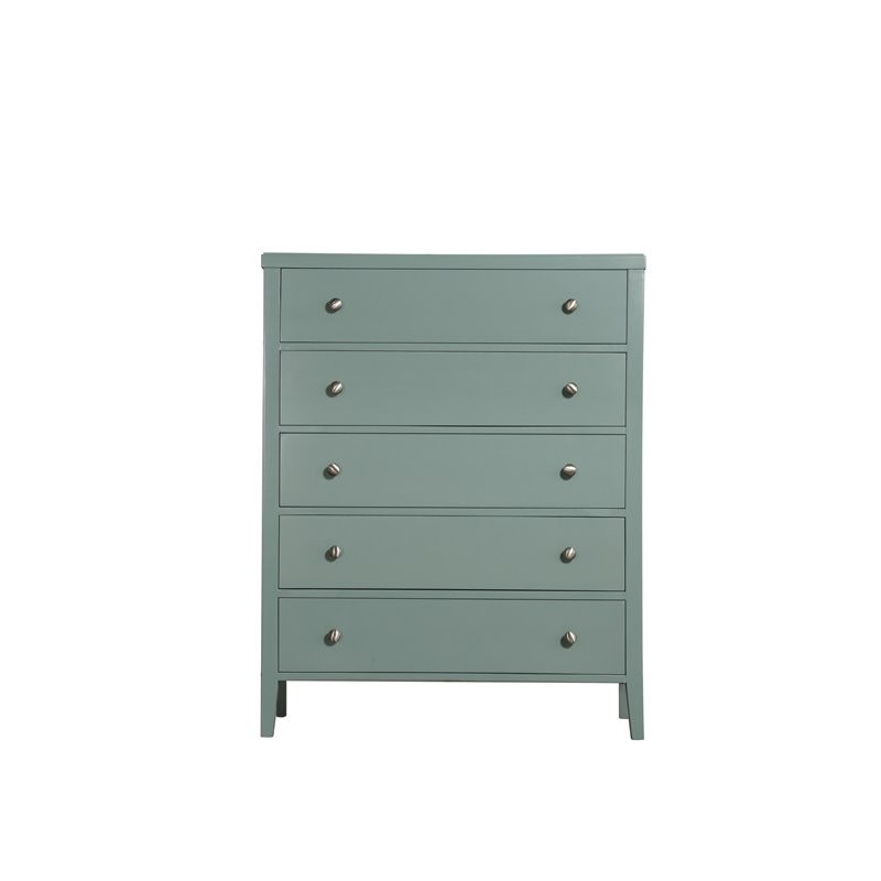 Home Decor III Green 5-Drawer Dresser With Angled Wood