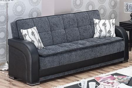 Empire Furniture Usa Oklahoma Collection Sb 87 Sofa Bed With Hidden Storage Compartment Throw Pillows