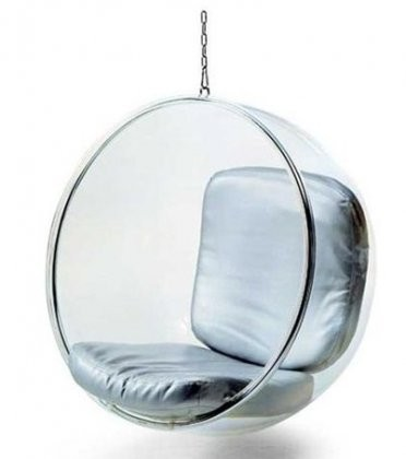 Bon Fine Mod Imports Blue Bubble Hanging Chair With Clear Acrylic Frame
