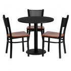 Flash Furniture MD-0007-GG 30'' Round Black Laminate Table Set with Grid Back Metal Chair and Cherry Wood Seat Seats 3