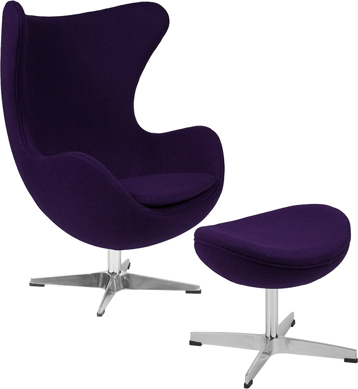 Flash Furniture Wool Egg Chair And Ottoman In Purple