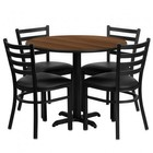 Flash Furniture HDBF1032-GG 36'' Round Walnut Laminate Table Set with Ladder Back Metal Chair and Black Vinyl Seat Seats 4