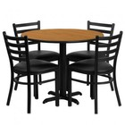 Flash Furniture HDBF1031-GG 36'' Round Natural Laminate Table Set with Ladder Back Metal Chair and Black Vinyl Seat Seats 4