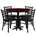 Flash Furniture HDBF1030-GG 36'' Round Mahogany Laminate Table Set with Ladder Back Metal Chair and Black Vinyl Seat Seats 4
