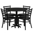 Flash Furniture HDBF1029-GG 36'' Round Black Laminate Table Set with Ladder Back Metal Chair and Black Vinyl Seat Seats 4