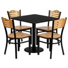Flash Furniture MD-0010-GG 30'' Square Black Laminate Table Set with Wood Slat Back Metal Chair and Natural Wood Seat Seats 4