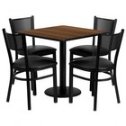 Flash Furniture MD-0005-GG 30'' Square Walnut Laminate Table Set with Grid Back Metal Chair and Black Vinyl Seat Seats 4