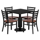 Flash Furniture MD-0003-GG 30'' Square Black Laminate Table Set with Ladder Back Metal Chair and Cherry Wood Seat Seats 4