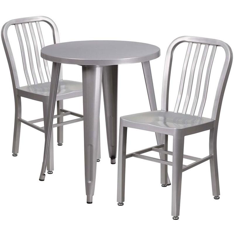 flash furniture 3 piece 24 round metal patio bistro set in silver. Black Bedroom Furniture Sets. Home Design Ideas