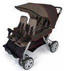"Foundations LX Collection 4140167 72"" 4-Passenger Stroller with Dual Canopy Folding  Side-by-Side Design  Extra Wide Seating  Effortless Push and Heavy Duty Fabric Cover in Earthscape"